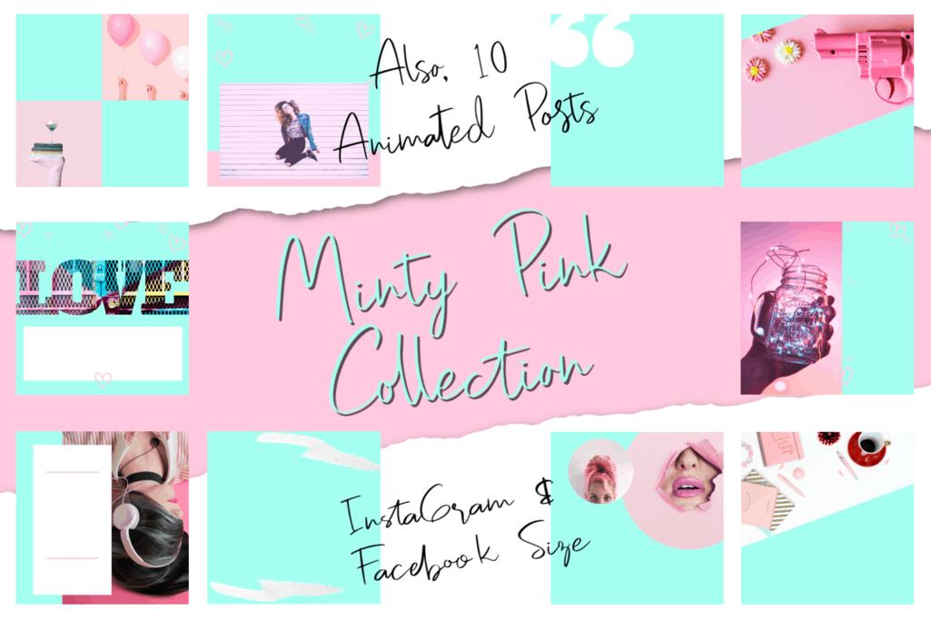 Minty Pink Social Media Bundle - 50 Cool Images 2