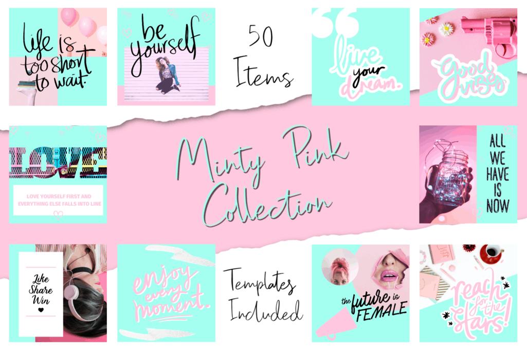 Minty Pink Social Media Bundle - 50 Cool Images 1