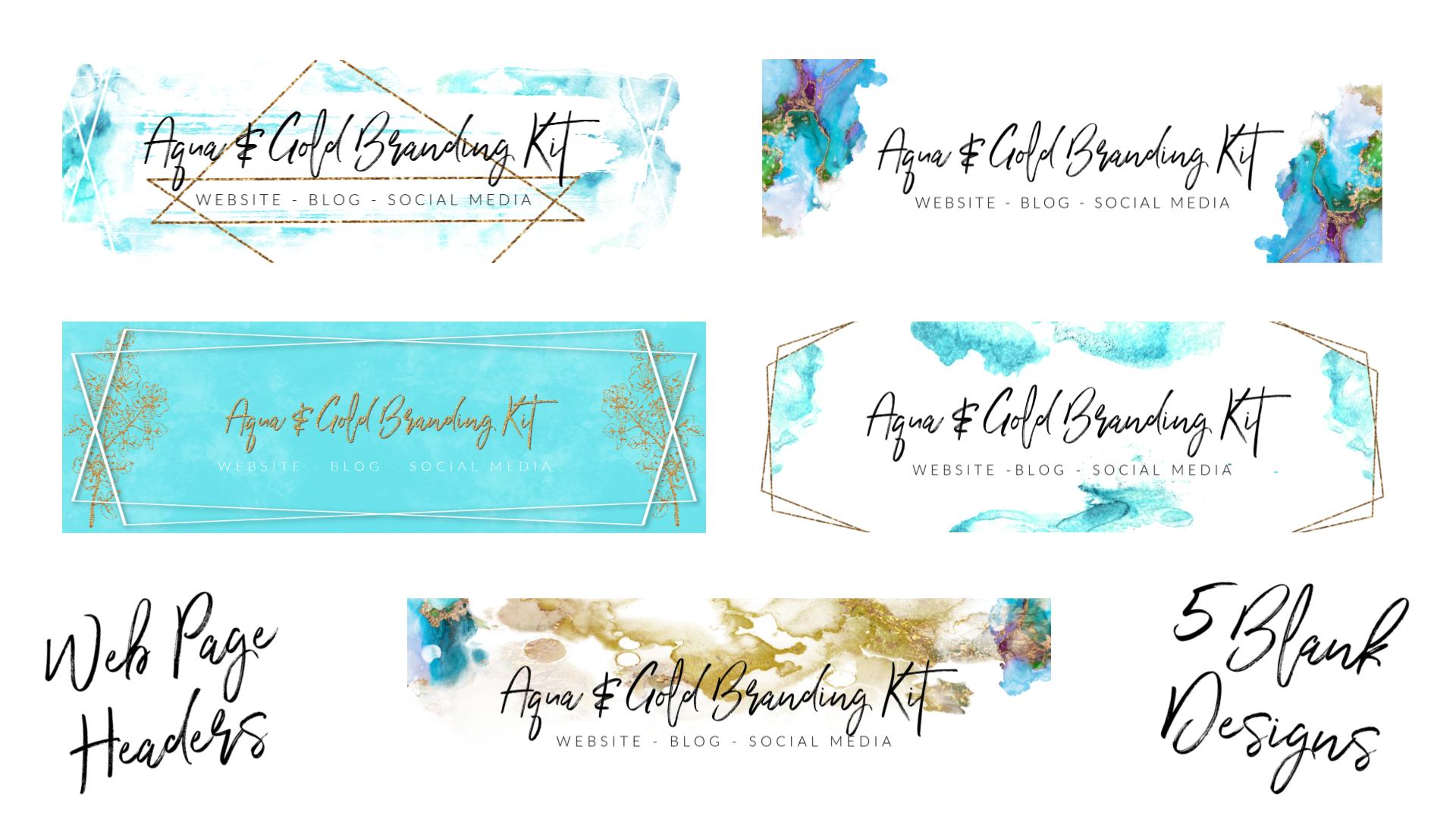Aqua & Gold Branding Kit 5