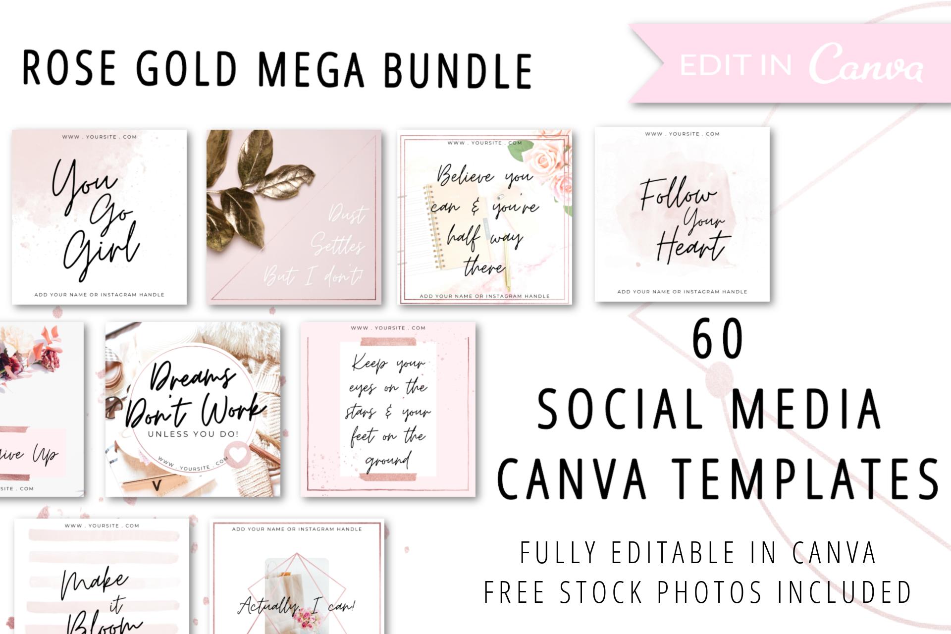 NEW 60 Rose Gold Social Media Canva Templates 3