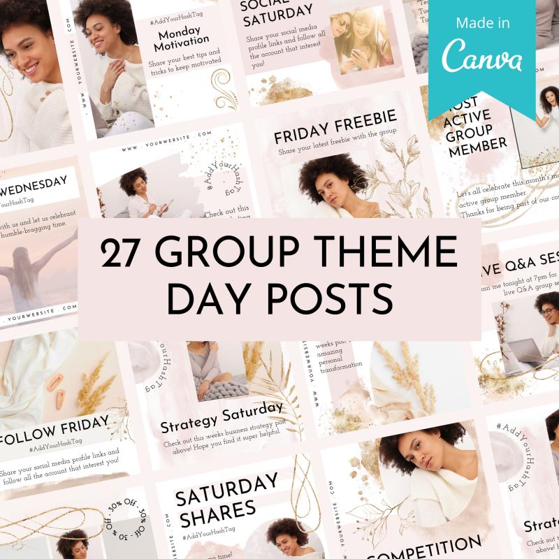 Facebook™ Group Canva Template Bundle - Beauty Blush 2