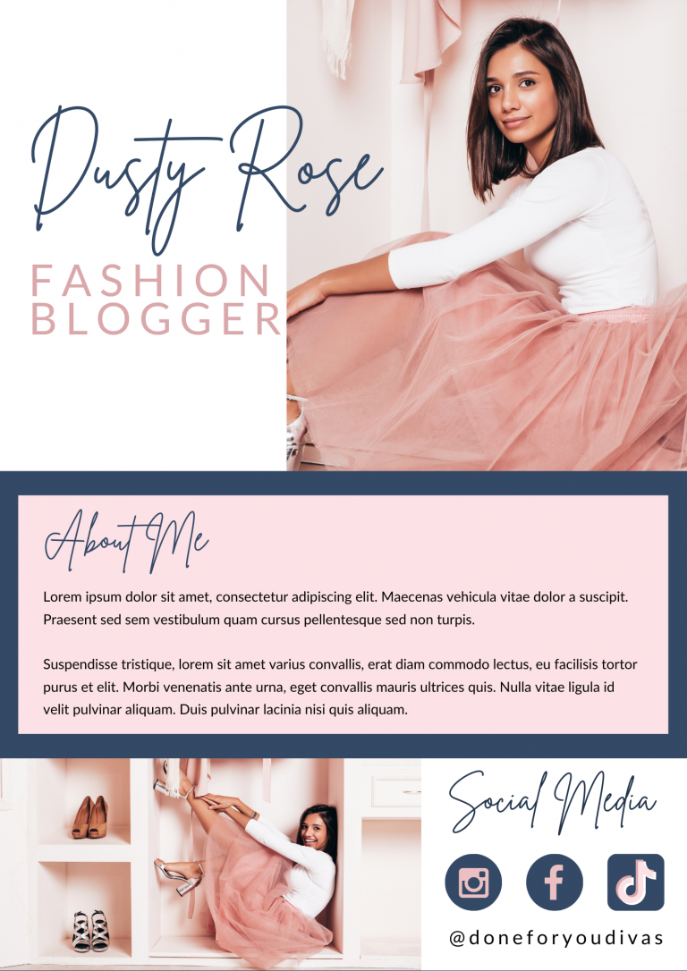 Dusty Rose Media Kit Canva Template 1